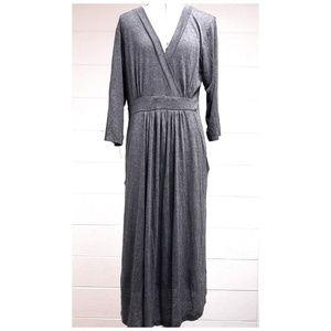 Gray Plunging V-Neck Quarter Sleeve Empire Dress M